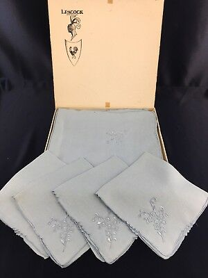 "New Vintage Leacock Blue Linen 45"" Tea Service Table Cloth & Napkins Tablecloth"