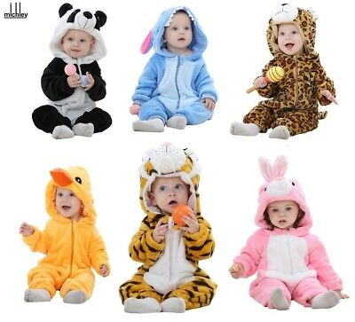 Baby Boy Girl All in One Animal Hooded Outfit Romper Jumpsuit 3-6 6-12 12-24m