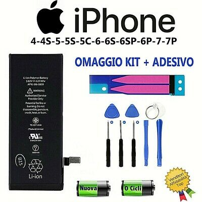 BATTERIA PER APPLE IPHONE 4-5-5s-5c-6s-6plus-7 plus NUOVA apn ORIGINALE RICAMBIO