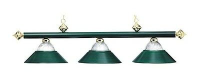 Pool Billiard Table Light Metallic w/ Halophane Glass Hunter Green B48 RIB HG