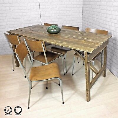 Dining Table Vintage Industrial Salvaged Folding Trestle Reclaimed Rustic Timber