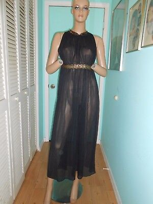 Vtg 60's Sexy Black Sheer All Nylon Pencil Pleat Grecian Style Nightgown M