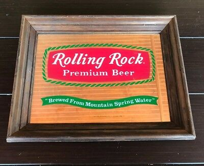 Rolling Rock Premium Beer - Glass Mirrored Bar Wall Sign Wood Frame - Latrobe PA