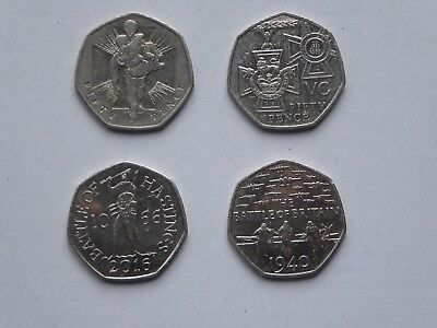 50p Coins x 4 war Theme, Valour,VC,Battle Of Britain & Battle Of Hastings