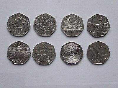 50p Coins x 8 - Scouts/Girl Guides/Sir Issac Newton/4 Min Mile