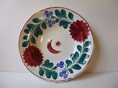 Antique Spongeware Pottery Bowl With Moon And Star Decoration