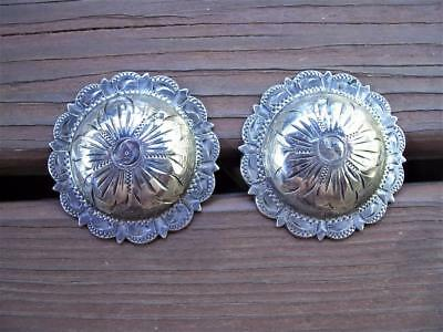 """Pair of Vintage 1 1/2"""" Sterling Silver Overlay Fleming Pico Conchos"""