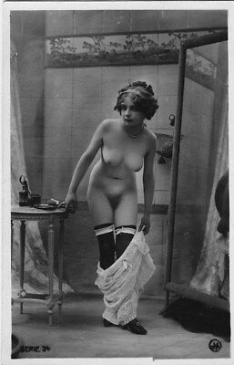 French NUDE real photo postcard circa 1920 Jean AGELOU FERNANDE cp705