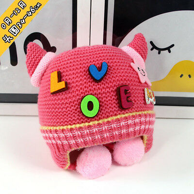 Kids Baby Cute Felt LOVE Letters Knitted Devil Horns Beanie Fleece Earflap Hat
