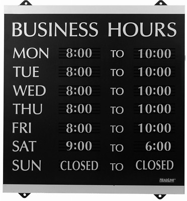 NEW Hanging Business Hours Window Sign Hours of Operation black
