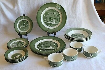 Royal China COLONIAL HOMESTEAD Green 1950's 20 Pc Set 5 Pc Plc Set Serv for 4