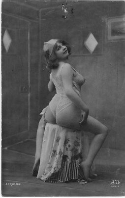 French NUDE real photo postcard circa 1920 Jean AGELOU