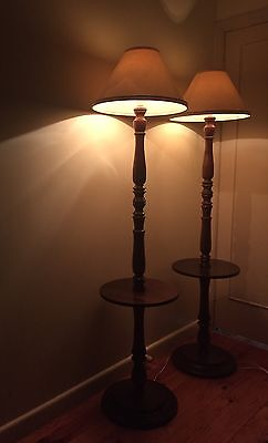 PAIR OF VINTAGE ART DECO 1950's FLOOR LAMPS WITH ATTACHED WINE TABLES