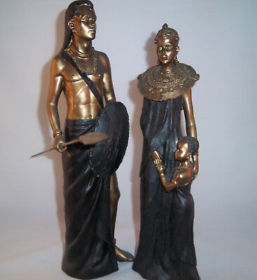 African Warriors Father, Mother and Son Art Figure Statues, NIB, $49.99 MSRP