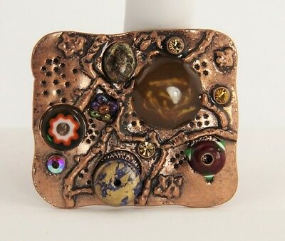 VINTAGE Jewelry BEAUTIFUL COPPER PENDANT WITH CRYSTALS AND ART GLASS