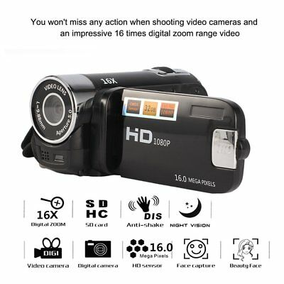 "1080P HD 2.4"" LCD 16X Digital Zoom Camcorder Video Recorder Camera 16MP DV KitHZ"