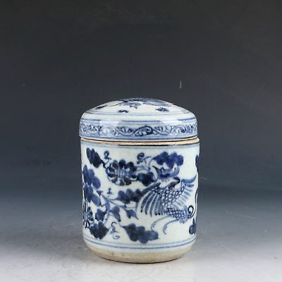 Chinese	 Blue And White Porcelain Handwork Carved Crane & Flower Pot PJ438