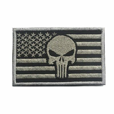 Punisher American Flag Patch Tactical Military Patch / Velcro Morale( Gray )