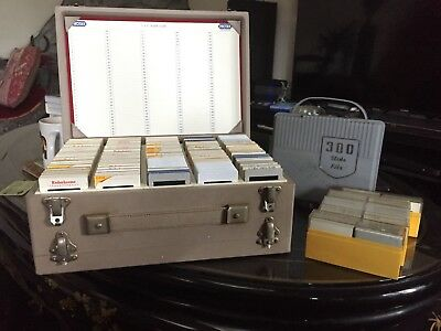 700 + Vintage Photo Slides and Cases circa 1960/70