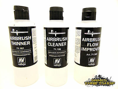 Vallejo Model Air 200ml Bottle Color Paint Thinner Cleaner Airbrush x 3 Used