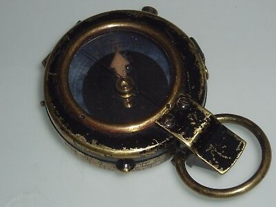 Worn Black Painted Brass Military Field Compass 1918 Stamp