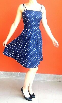 Original 70s VINTAGE Tailored PIN-UP dress, blue and white pois, size IT 40 - EN