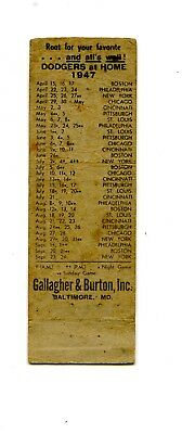 1947 Brooklyn Dodgers Matchbook Schedule Whiskey Ad Jackie Robinson Rookie