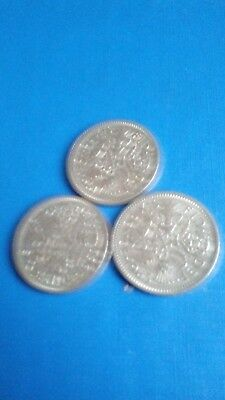 Queen Elizabeth 11 Sixpence coins 1961, 62, and 1963