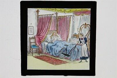Woman & Maid & Bicycle In Bedroom - Hand Painted Glass Lantern Slide