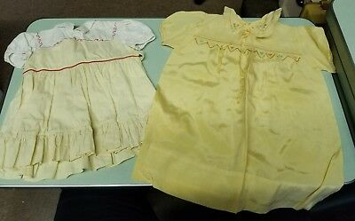 Antique Vintage Baby Dresses - Yellow - Lot of 2