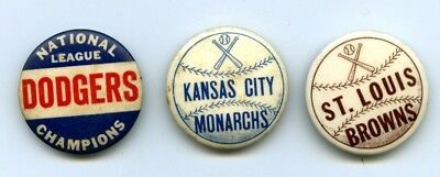 1940s-50s St. Louis Browns Champion Dodgers Monarchs Negro League Baseball Pins