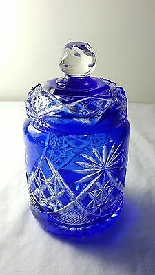 Cut glass blue overlay Stourbridge glass lidded jar.