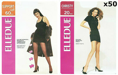 50 Pcs NEW L'ELLEDUE Ladies Tights Pantyhose Assorted Sizes Designs & Colours