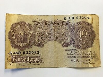 Bank of england currency note 10 shillings great britain paper money