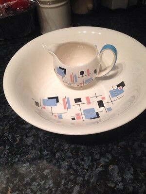 """""""Gay Day"""" Palissy  Bowl And Small Jug Blue"""