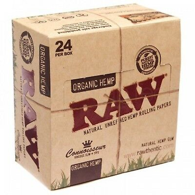 Raw Connoisseur Organic King Size Slim With Tips Rolling Paper (Full Box) 24 Pk