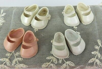1950's Ginnette Vogue Doll Shoes Vintage Lot of 4 pair PINK and white Mary Jane