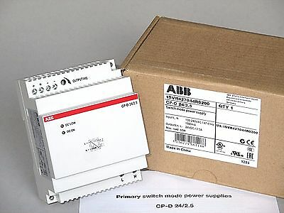 ABB 24VDC Power Supply 60W 2.5A, DIN Rail Mount, CP-D 24/2.5, 1SVR427044R0200