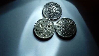 Sixpence Coins Dated 1954,1955,1956