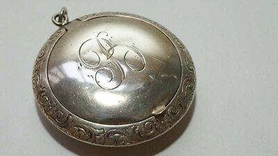 E516 Vintage Sterling Signed Chatelaine Purse Size Compact Case Pill Box