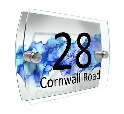 House Number Sign Plaque Glass Effect Acrylic Door Wall New Home Blue #D106
