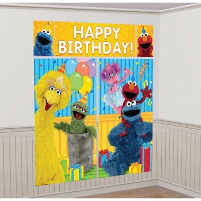Sesame Street Elmo Scene Setters Wall Banner Decorating Kit Birthday Party
