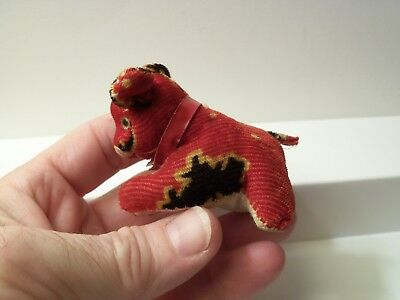 Antique Plush Sewing Tape Measure Pin Cushion Bear Or Dog, Not Sure ? Glass Eyes