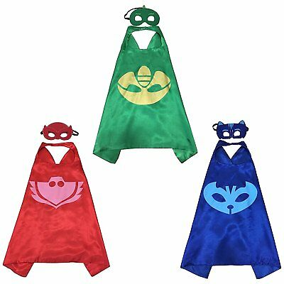 PJ Mask Super Team Kids Cape and Mask Costumes, 3-Set Gekko, Catboy and Owlette