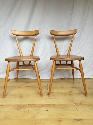 Stunning Pair 2 Vintage  retro Ercol Adult Original Stacking  Dining  Chairs