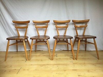 Set Of Four 4  Vintage retro Ercol Original Stacking green dot Dining Chairs