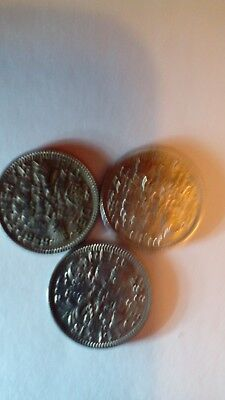 Sixpence Coins dating 1959, 1961 and 1963