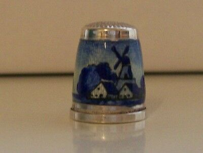 Lovely German Sterling Silver/ Enamel Thimble, Makers Mark to the Top