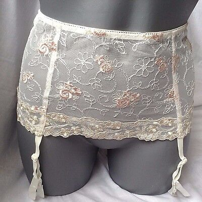 919b97d9b 24)Charnos Ivory pink Suspenders Suspender Belt Bridal Lingerie Gift Small  Bnwt