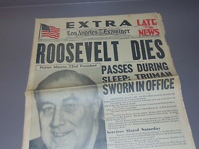 April 13, 1945 Los Angeles Newspaper: Wwii President Franklin D. Roosevelt Dead